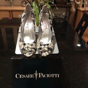 Cesare peep toe stiletto pumps n jacquard fabric.